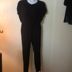 Comfy short sleeved jumpsuit. Drawstring waist.